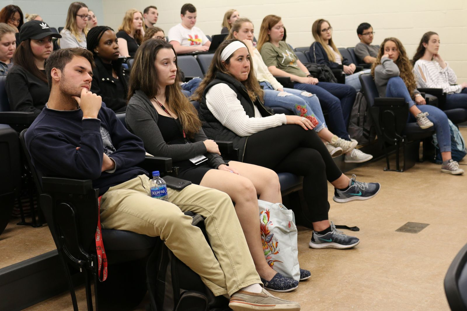 Students attend a lecture at the Universty of Maryland