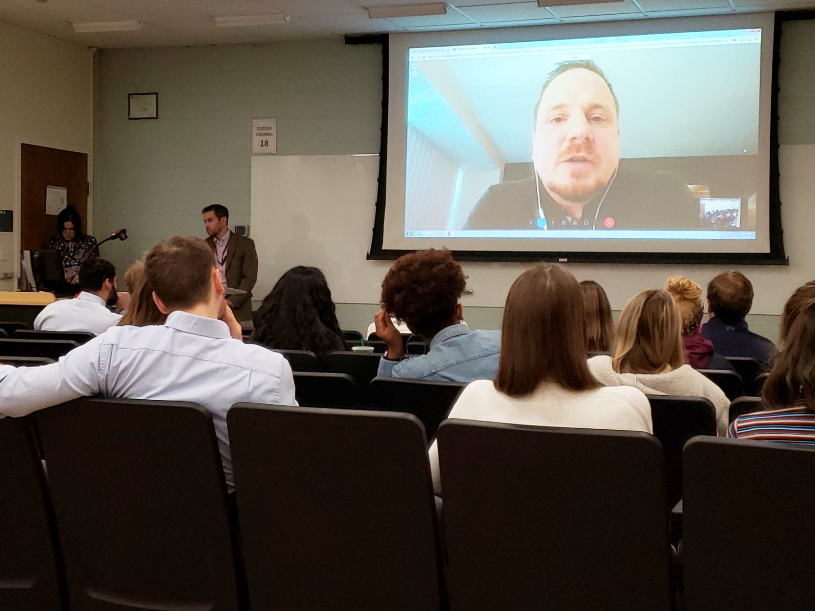 Brad Galloway delivers a remote lecture to START students and researchers