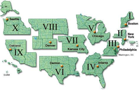A Map of FEMA Regions