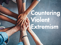 image of hands together and words Countering Violent Extremism