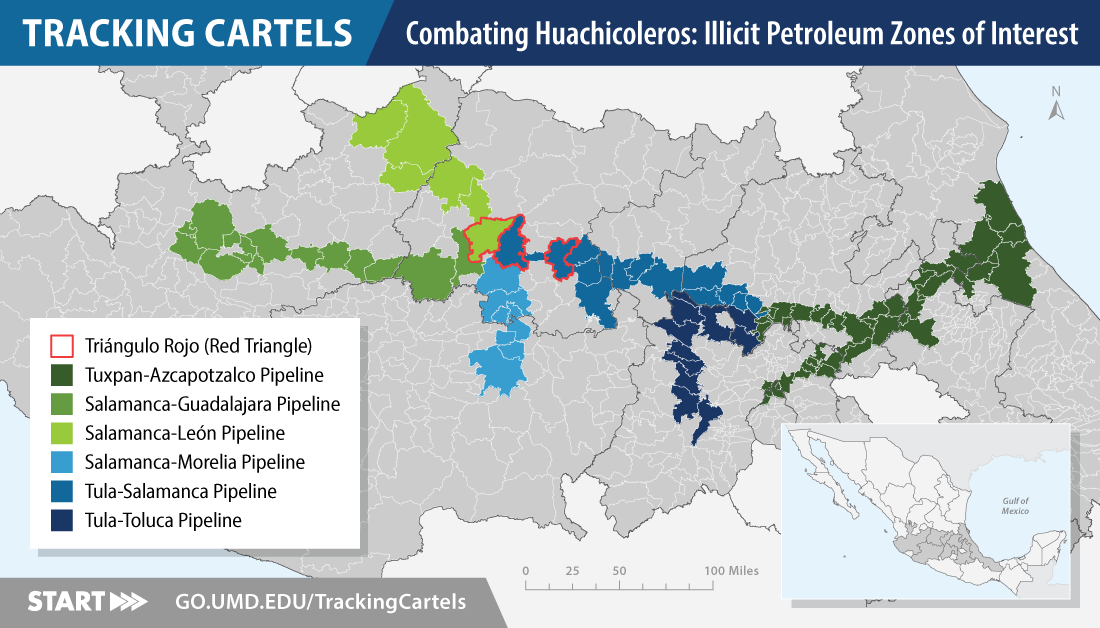 Map of zones of illicit fuel trade in Mexico