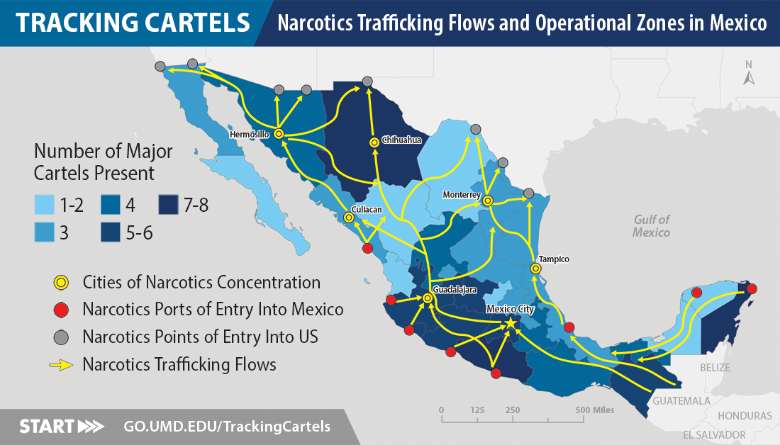 Map of Cartel Operational Zones in Mexico